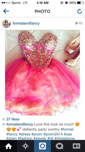 dress gold and pink sparkly strapless