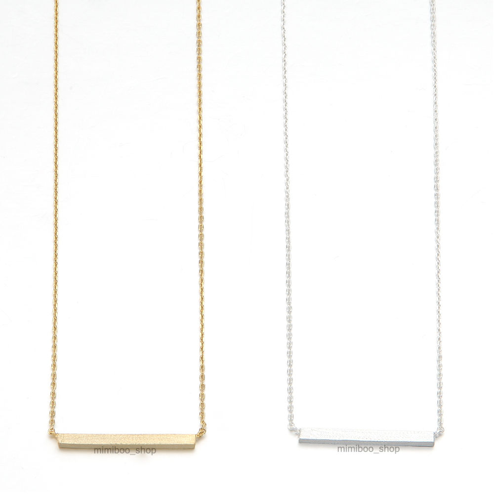 Hand Touch Texture Horizontal Simple Bar Stick Pendant Necklace Chain 16