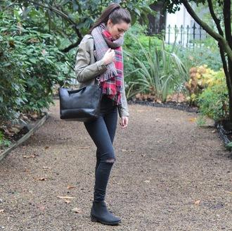 peexo blogger jacket jeans bag tartan scarf