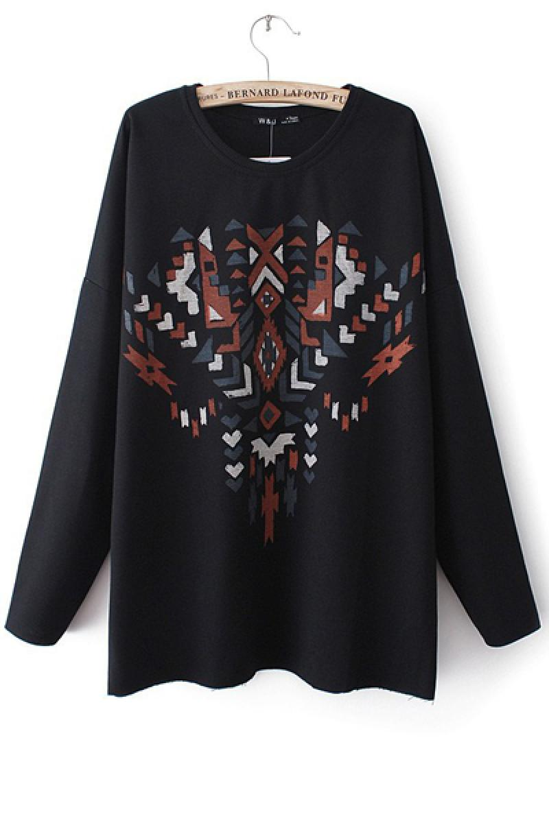 2013 New Crewneck  Geometric Peach Heart Pattern Long Sleeve Long Section Sweater,Cheap in Wendybox.com