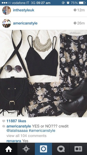 top black bralette bralette palazzo pants floral crop tops tank top skirt cardigan bag