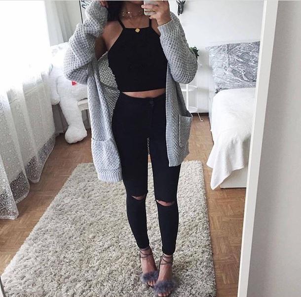 top tumblr black crop tops cardigan cute outfits coat grey cardigan knit