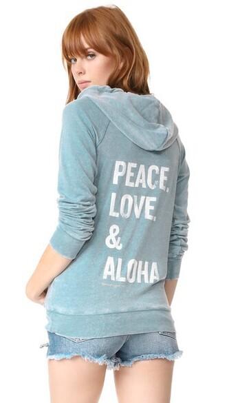 hoodie zip love peace aqua sweater