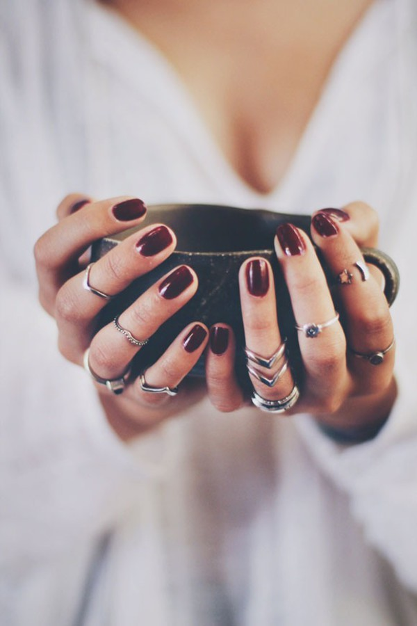 ring silver ring knuckle ring stacked jewellery nail polish dark nail polish