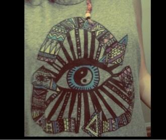 tank top boho shirt yin yang shirt yin yang karma hippie hippie shirt festival top festival festival style