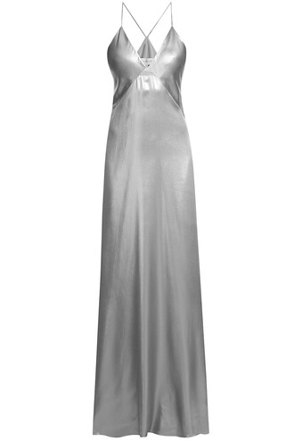 gown silk silver dress