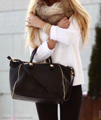 white scarf black bag knitwear fur jewels