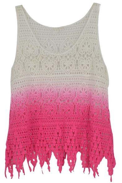 Pink Dip Dye Crochet Tank Top