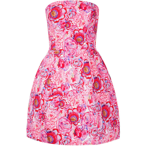 TOPSHOP Rose Print Lantern Dress - Polyvore