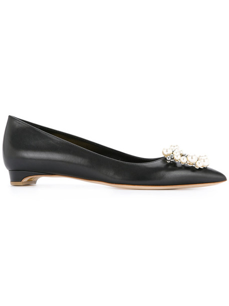 women pearl embellished pumps leather black shoes