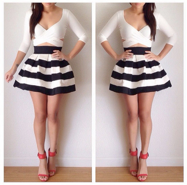 Black white wide striped bandage skater skirt 2 tone bell flared mini retro nwt