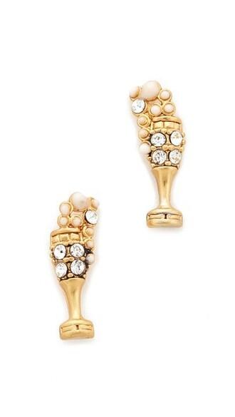 earrings stud earrings champagne gold jewels