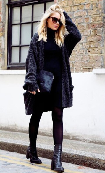 sweater cardigan jacket black fluffy baggy coat