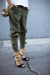 khaki,khaki pants,white top,black heels,mini bag,green pants,pants,leggings,nice,like,heels,new,babe,style,fashion,green,cuf,shoes,jeans,leather,military style,army green,dope,snake,gold,bag,olive green,clothes,joggers,cargo pants,cargo khaki pants,buckles,tapered,cargo green pants,ankle strap,slimmed,skinny jeans,strap buckle,moraki.net