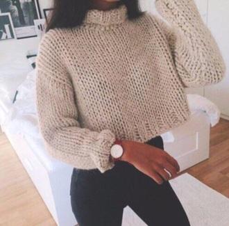 sweater beige sweatshirt crop tops warm sweater warm cool girl winter sweater nude nice crop tumblr