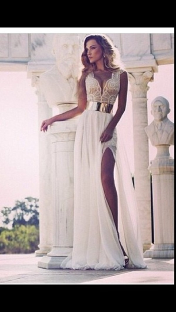 dress prom dress white dress white beautiful