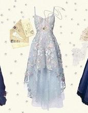 dress,blue dress,tulle skirt,high low,floral