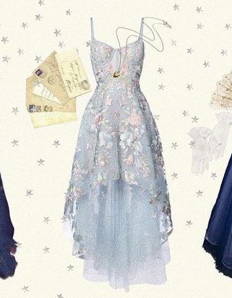 dress blue dress tulle skirt high low floral