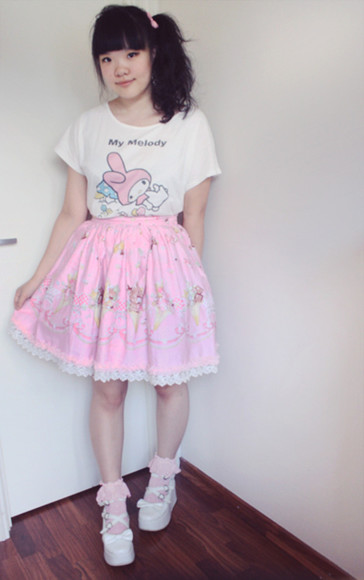 shoes bows kawaii skirt my melody t-shirt