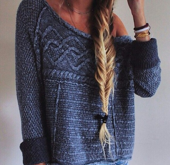 sweater knitwear knit sweater dark blue