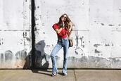 to bruck ave,blogger,top,bag,red top,jeans,heels
