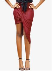 skirt,red skirt,black skirt,green skirt,draped skirt,asymmetrical