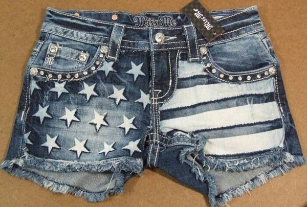 girls 4th of july stars stripes miss me blue jean shorts
