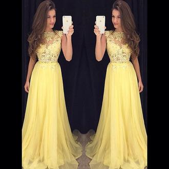 dress prom prom dress yellow maxi maxi dress style fashion floral flowers lace lemon stylish cute cute dress bridesmaid