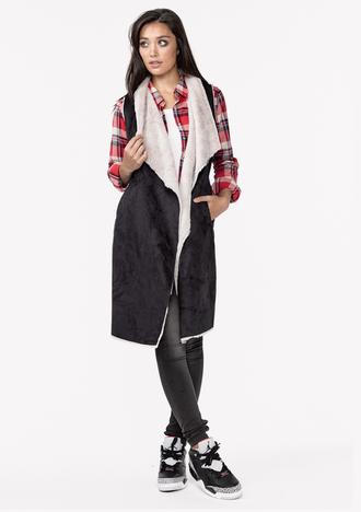 jacket long vest vegan vest faux fur vest faux fur vegan outerwear