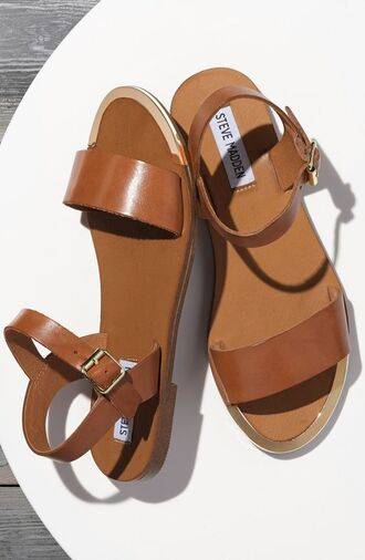 shoes steve madden sandals flat sandals brown sandals summer brown shoes summer shoes leather sandals strappy sandals