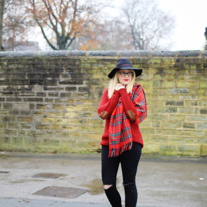 scarf jeans hat blogger j for jen tartan scarf elbow patches red sweater scarf red