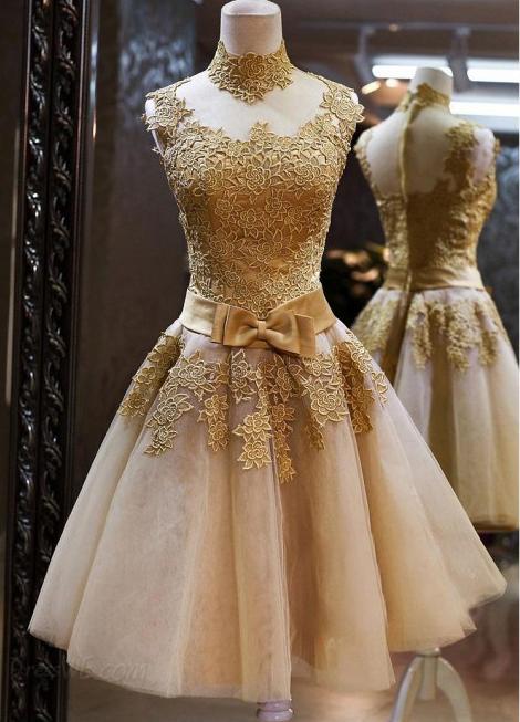 Princess high neck sleeveless mini prom dresses