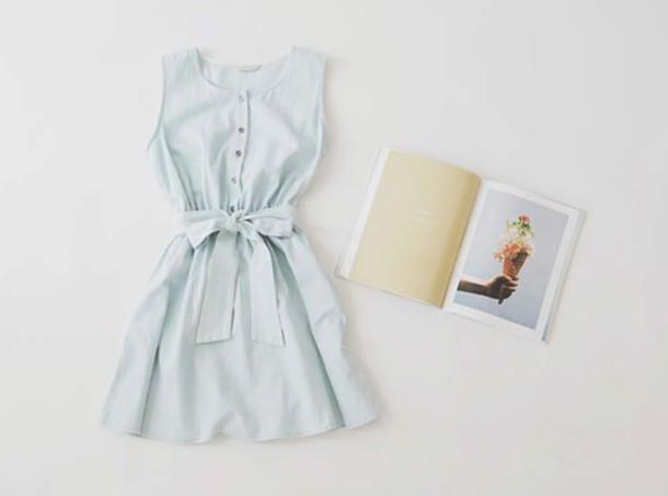 dress blue ribbon summer jeans sleeveless dress