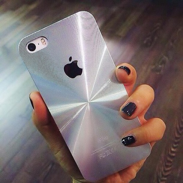 Phone cover: metallic, iphone cover, iphone case, iphone, silver ...