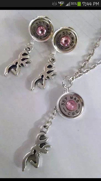jewels deer necklace browning pink earings