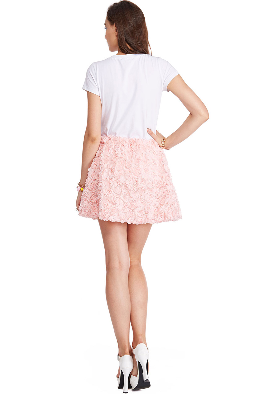 Romwe faux roses embellished pink skirt