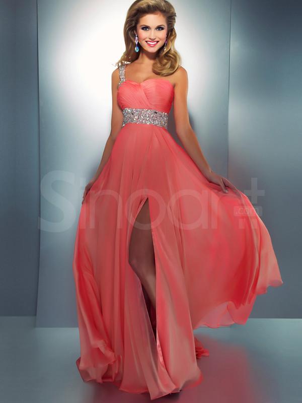 dress one shoulder and chiffon dress