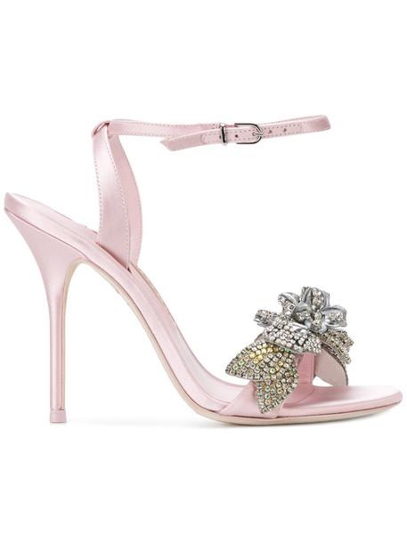 women embellished sandals leather purple pink satin shoes