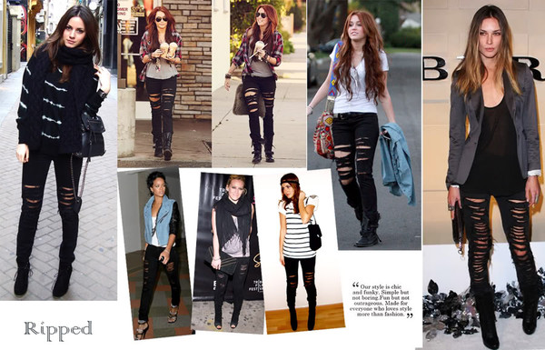 jeans black ripped jeans rock cool fashion hole girl miley cyrus