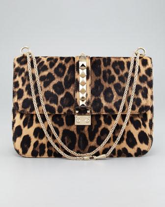 Valentino Leopard Calf Hair Lock Bag  - Neiman Marcus