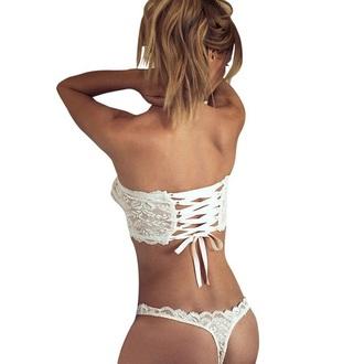 underwear lace lingerie white bra thong girly sexy hot musheng