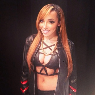 tinashe black crop tops jacket red gold chain necklace hoop earrings