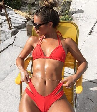 swimwear bikini red tan trendy hot sexy summer beach bikiniluxe fashion