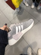 shoes,women's adidas nmd shoes l,light purple with gray