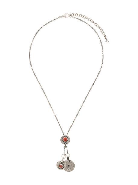 Saint Laurent metal women necklace pendant grey metallic jewels