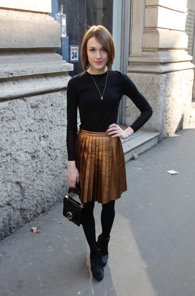 Skirt Gold Skirt Metallic Gold Metallic Pleated