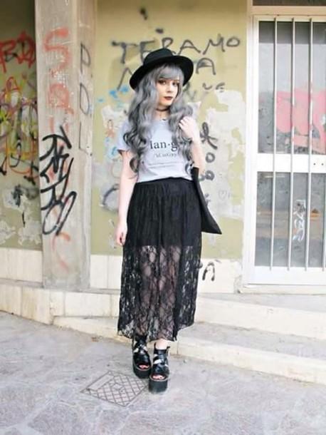 skirt black skirt midi skirt lace skirt