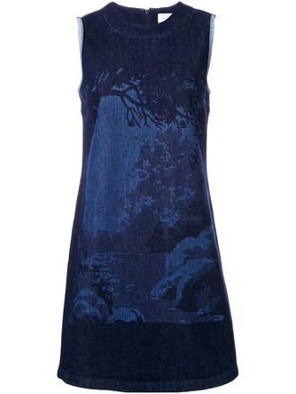 dress shift dress forest print blue