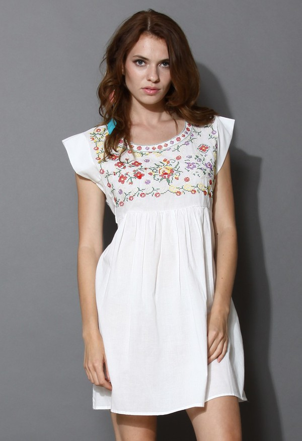 chicwish peaceful flower cross-stitch dolly dress