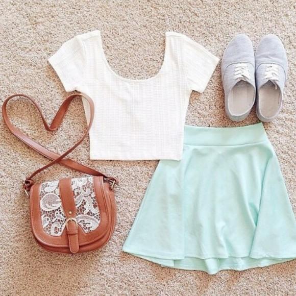 mint mint skirt bag white crop top grey sneakers sneakers brown crossbody crossbody bag crossbody crochet crochet bag mint skater skirt